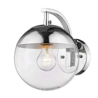 Dixon 1-Light Chrome with Clear Glass and Chrome Cap Sconce