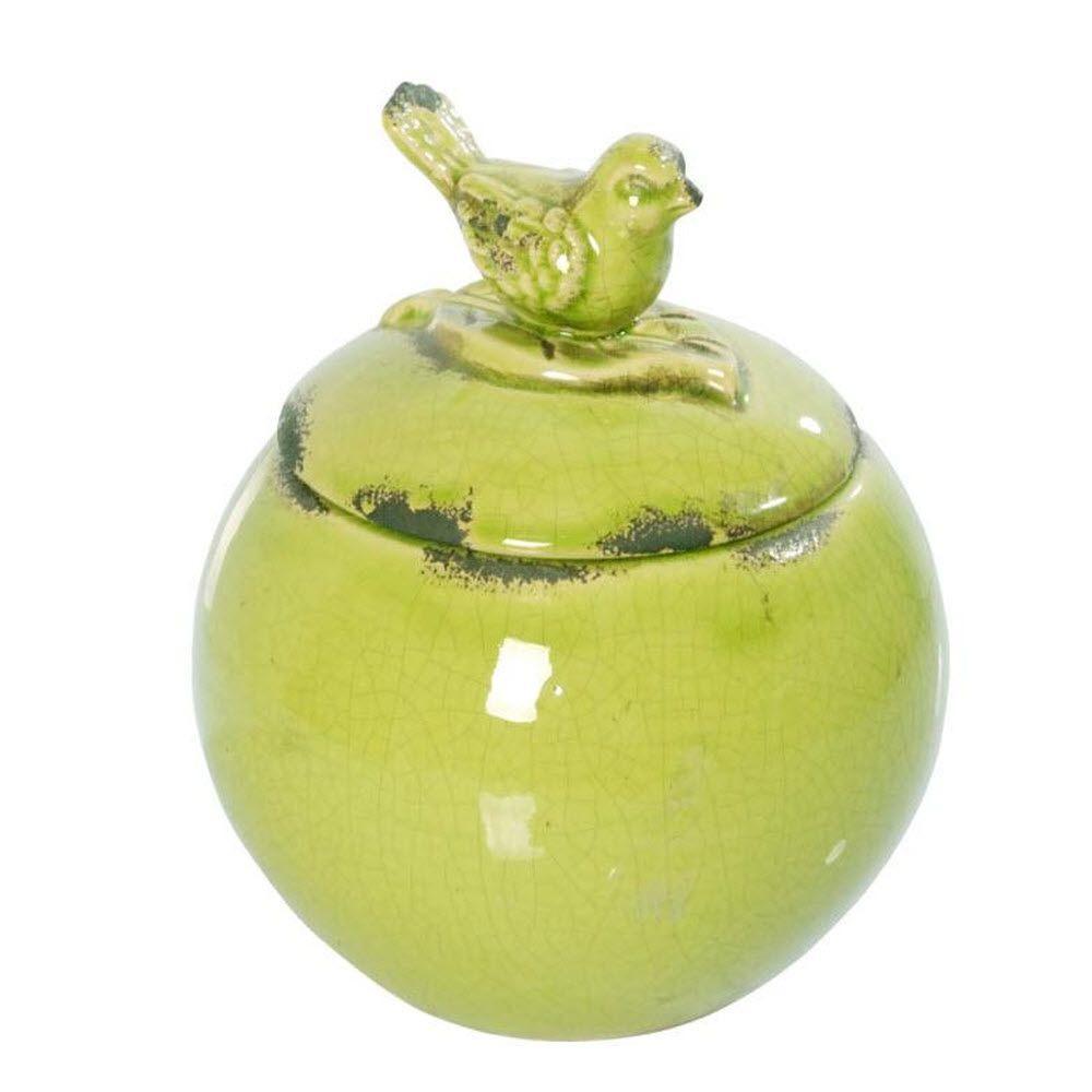 Round 6 in. W x 7 in. H Apple Green Ceramic Bird Lidded Jar
