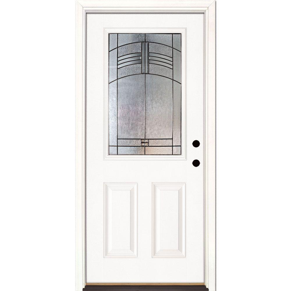 This Review Is From:37.5 In. X 81.625 In. Rochester Patina 1/2 Lite  Unfinished Smooth Left Hand Inswing Fiberglass Prehung Front Door