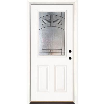 37.5 in. x 81.625 in. Rochester Patina 1/2 Lite Unfinished Smooth Left-Hand Inswing Fiberglass Prehung Front Door