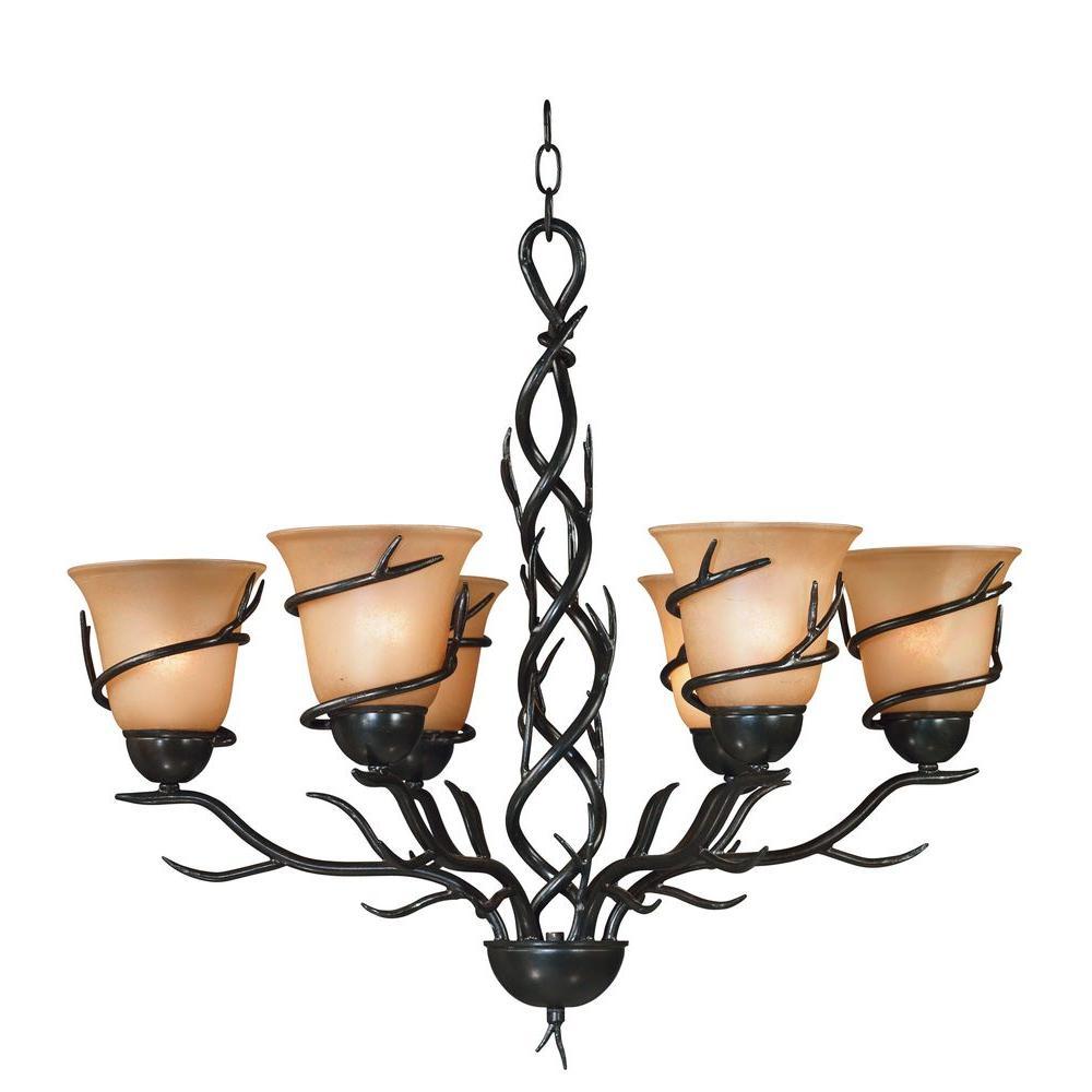 Twigs 6-Light Bronze Chandelier