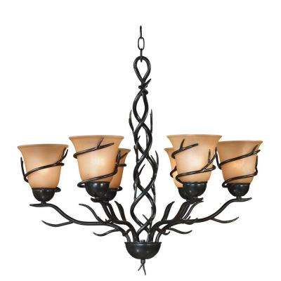 Twigs 6-Light Bronze Chandelier