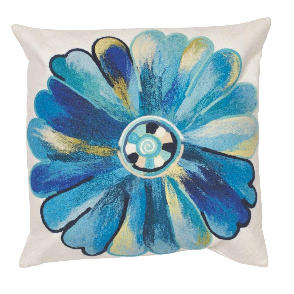 Home Decorators Collection 20 In. Square Daisy Blue Outdoor Throw Pillow