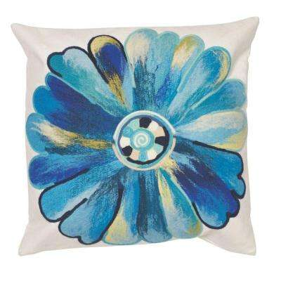 20 in. Square Daisy Blue Outdoor Throw Pillow
