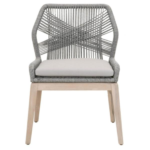 61ea3fc76347 Orient Express Furniture Loom Platinum Rope, Gray Teak Outdoor Dining Chair  (Set of 2