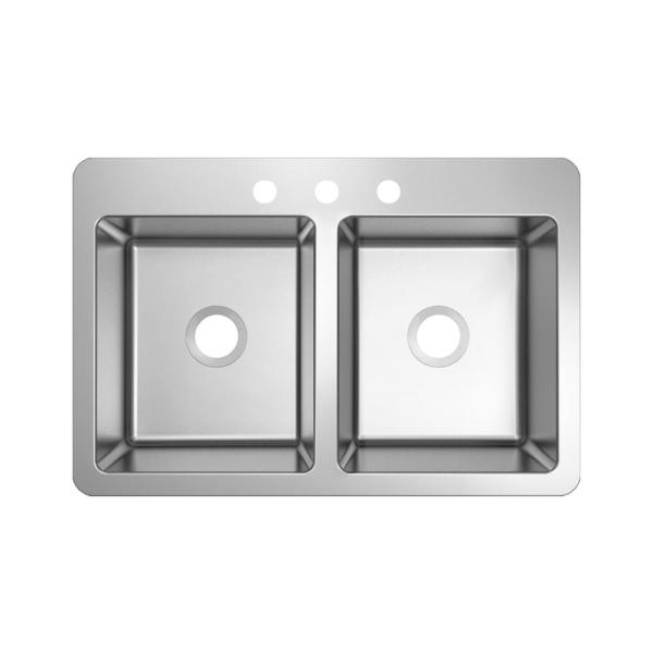 Stainless Steel 33 in. 18-Gauge Double Bowl Top Mount Kitchen Sink