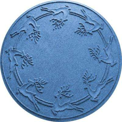 Aqua Shield Medium Blue 35 in. Round Reindeer Run Under the Tree Mat