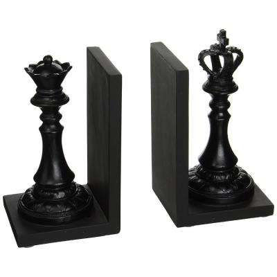 Royal Black King and Queen Decorative Bookends