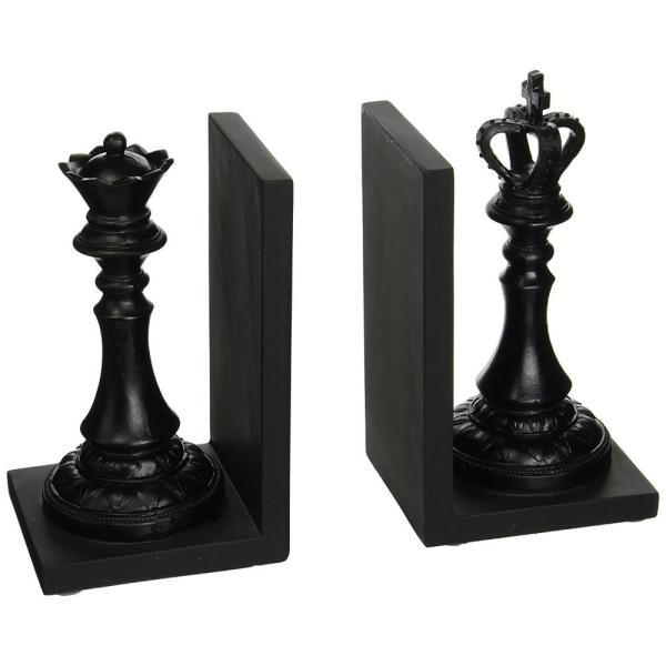 Black Royal King and Queen Polystone Decorative Traditional Ceramic Bookends (2-Pair)