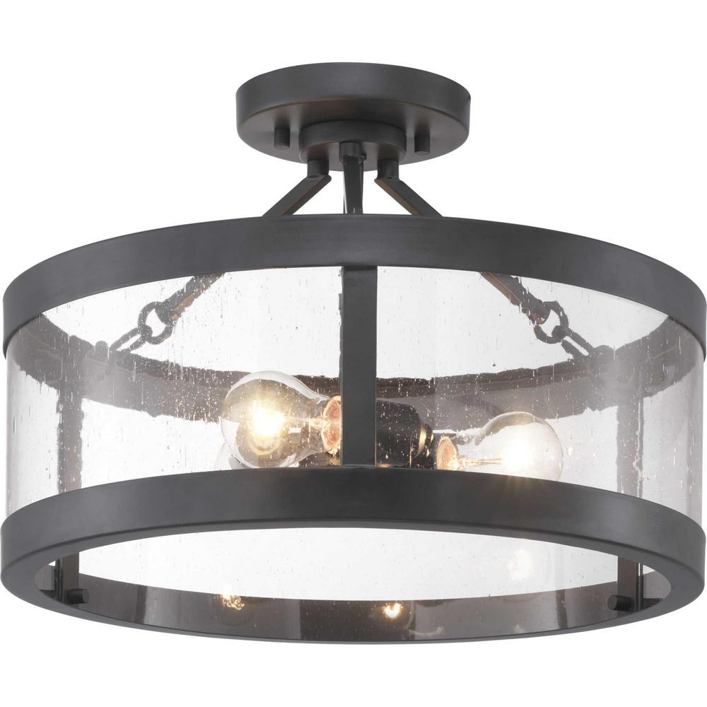Progress Lighting Gresham Collection 3 Light Graphite Semi Flush Mount