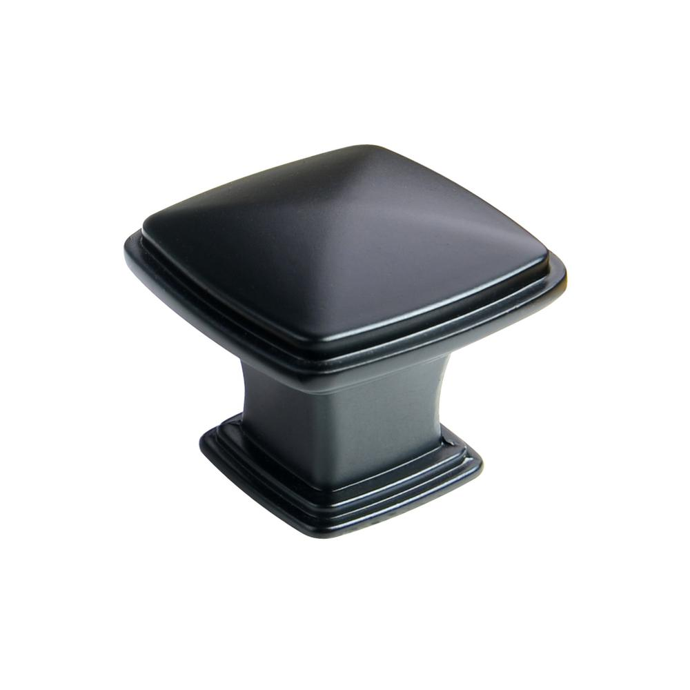 kitchen cabinets knobs south hardware 1 1 4 in flat black traditional 3056