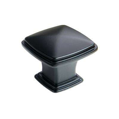 1-1/4 in. Flat Black Traditional Square Cabinet Knob (25-Pack)