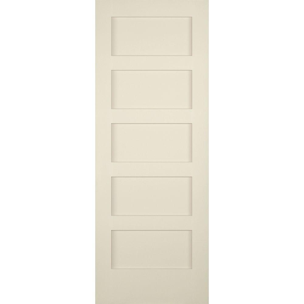 Builders choice 30 in x 80 in 5 panel shaker solid core for Solid core flush panel interior doors