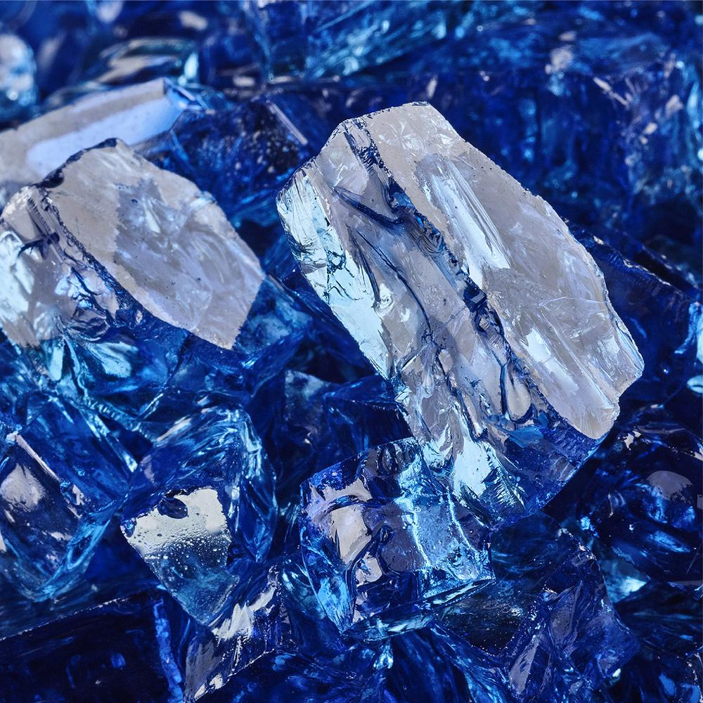 10 lbs. of Deep Sea Blue 1/2 in. Reflective Fire Glass