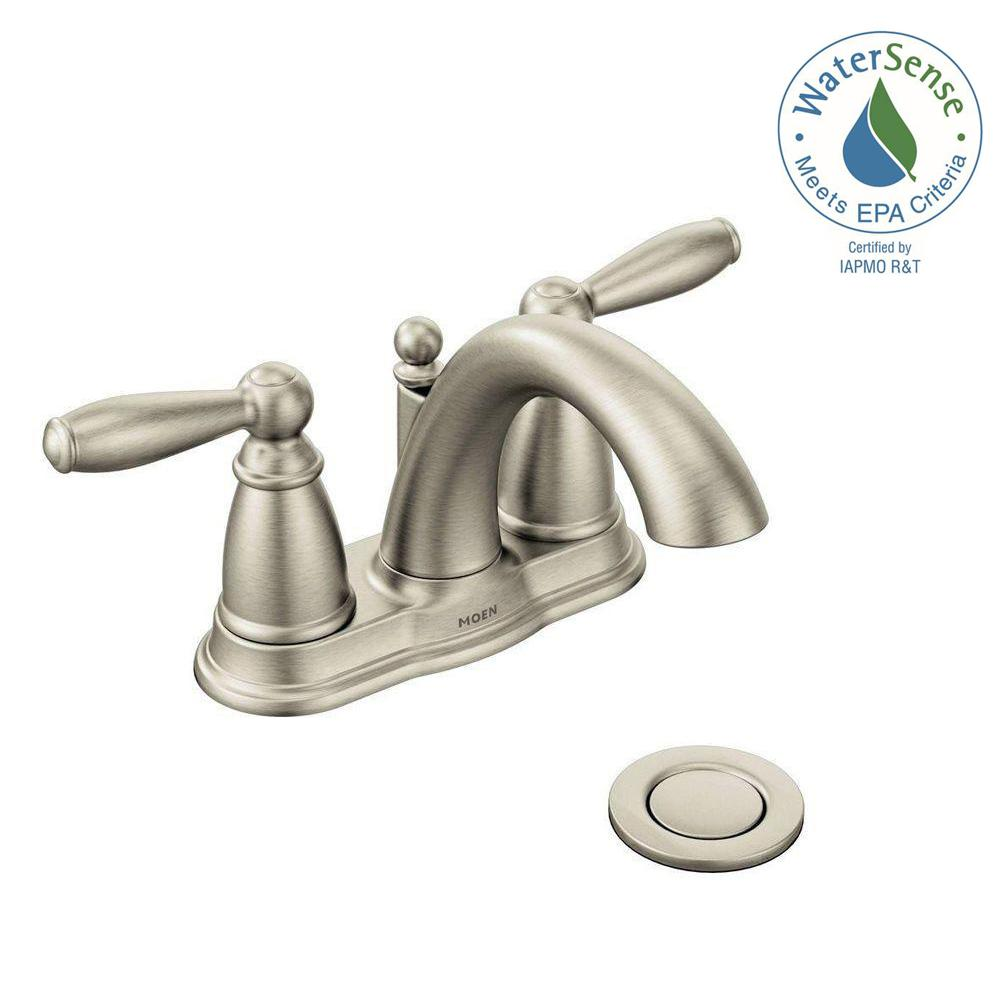 Moen Brantford 4 In Centerset 2 Handle Low Arc Bathroom Faucet In