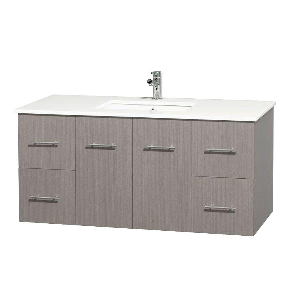 Wyndham Collection Centra 48 in. Vanity in Gray Oak with Solid-Surface Vanity Top in White and Undermount Sink
