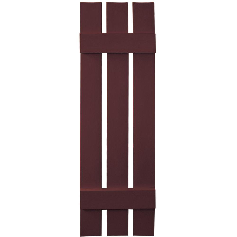 Builders Edge 12 in. x 43 in. Board-N-Batten Shutters Pair, 3 Boards Spaced #167 Bordeaux