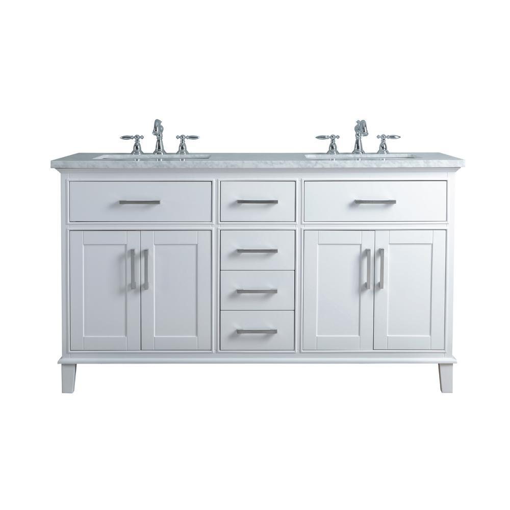 Stufurhome 60 in leigh double sink bathroom vanity in white with carrara marble vanity top in for Bathroom vanity double sink marble top