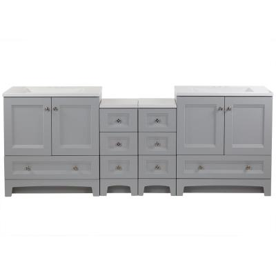Delridge Bath Suite with Two 30 in. Vanities Vanity Tops and 2-Drawer Bases in Pearl Gray