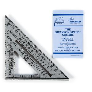 Swanson 7 inch Speed Square Layout Tool with Black Markings and Blue Book by Swanson