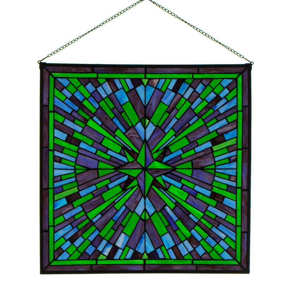 Home Decorators Collection Square Starburst Blue Multi Art Glass