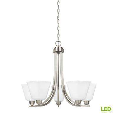 Parkfield 5-Light Brushed Nickel Chandelier with LED Bulbs