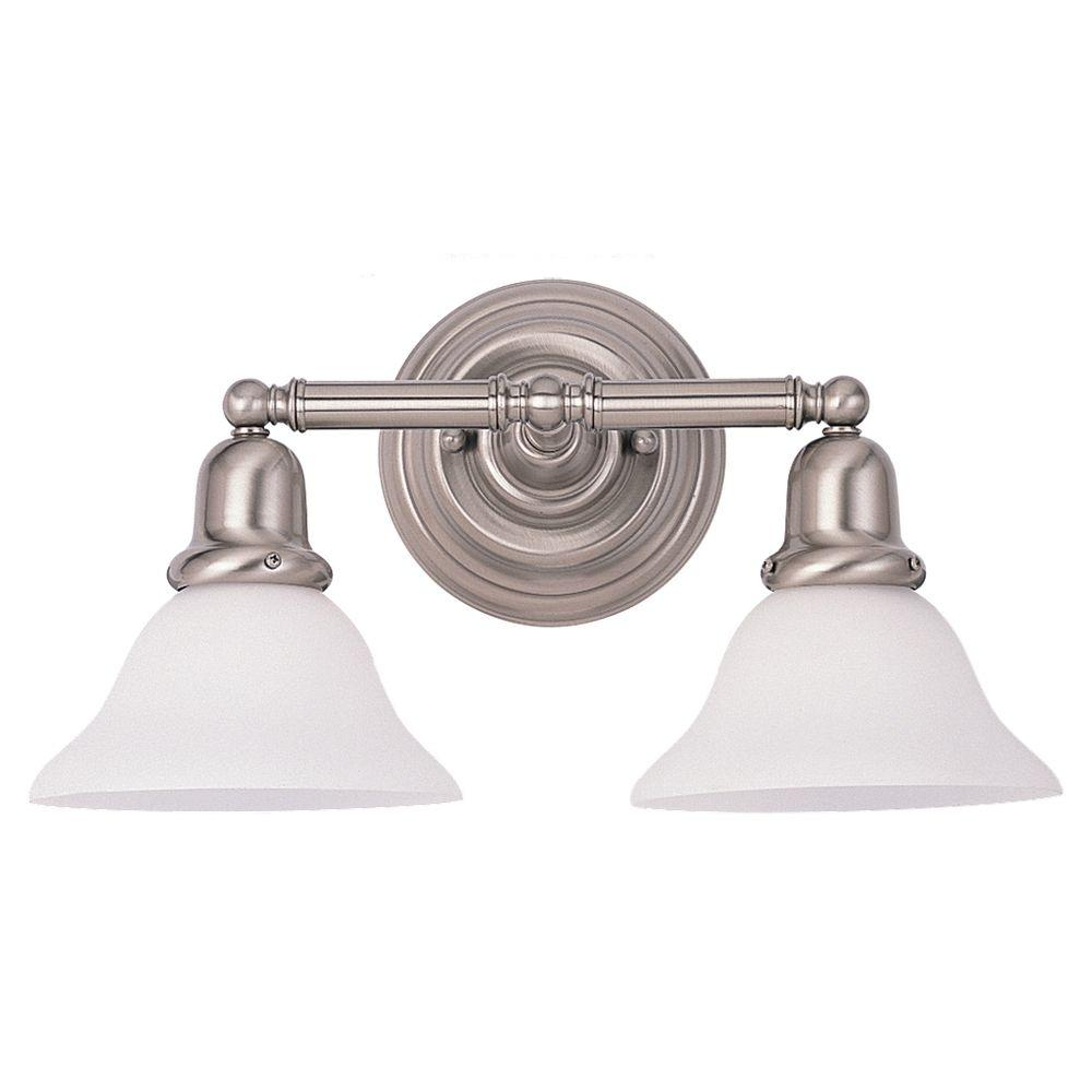 Sea gull lighting sussex 2 light brushed nickel vanity - 8 light bathroom fixture brushed nickel ...