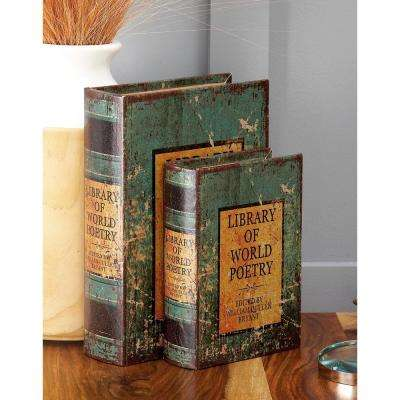 """Vintage Rectangular Wood and Faux Leather """"Library of World Poetry"""" Book Boxes (Set of 3)"""
