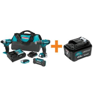 Makita 12-Volt Max CXT Cordless Combo Kit (4-Pc) Driver-Drill/Impact Driver/Flashlight/Radio 2... by Makita