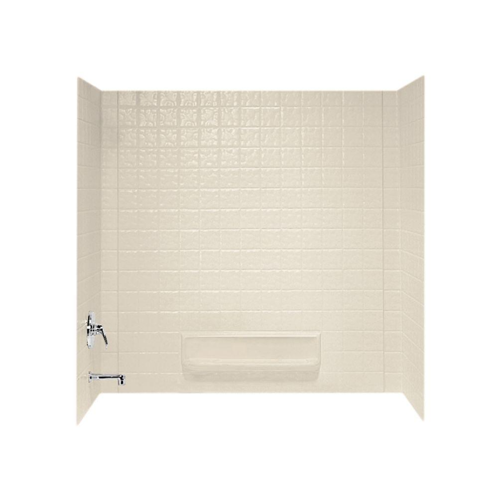 Swan 30 in. x 60 in. x 59.6 in. 3-Piece Square Tile Easy ...