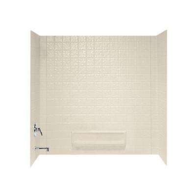 30 in. x 60 in. x 59-5/8 in. 3-Piece Easy Up Adhesive Tub Wall in Bone