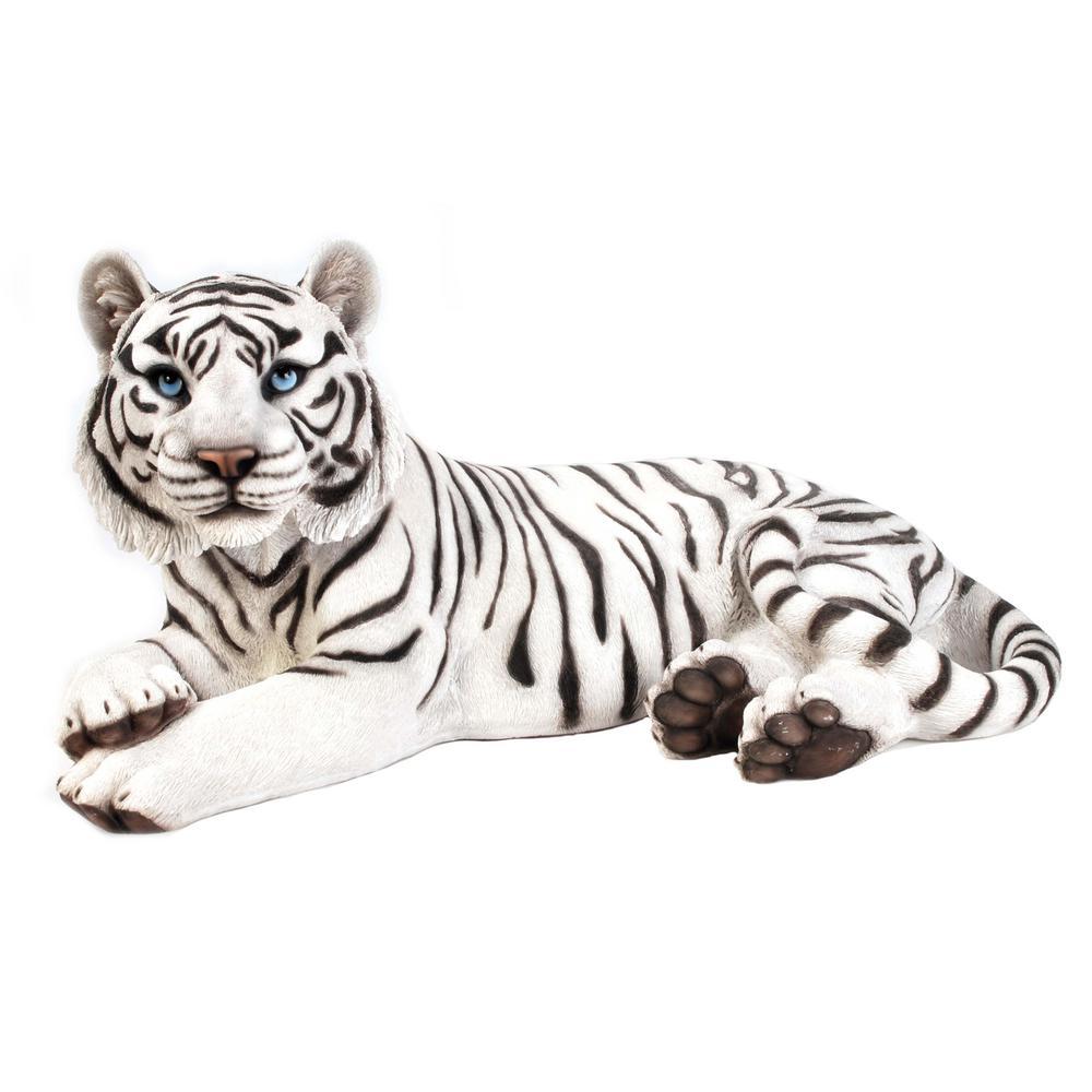 White Tiger Laying Down Garden Statue