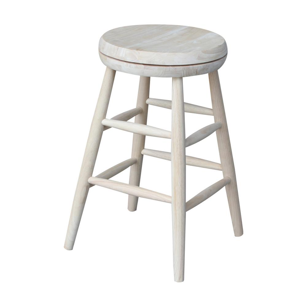 International Concepts Scooped Seat 24 in. Unfinished Wood Swivel Bar Stool