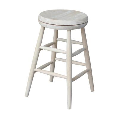 Scooped Seat 24 in. Unfinished Wood Swivel Bar Stool