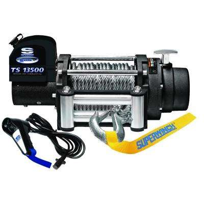 Tiger Shark 13500 12-Volt DC Off-Road Winch with 4-Way Roller Fairlead and 12 ft. Remote