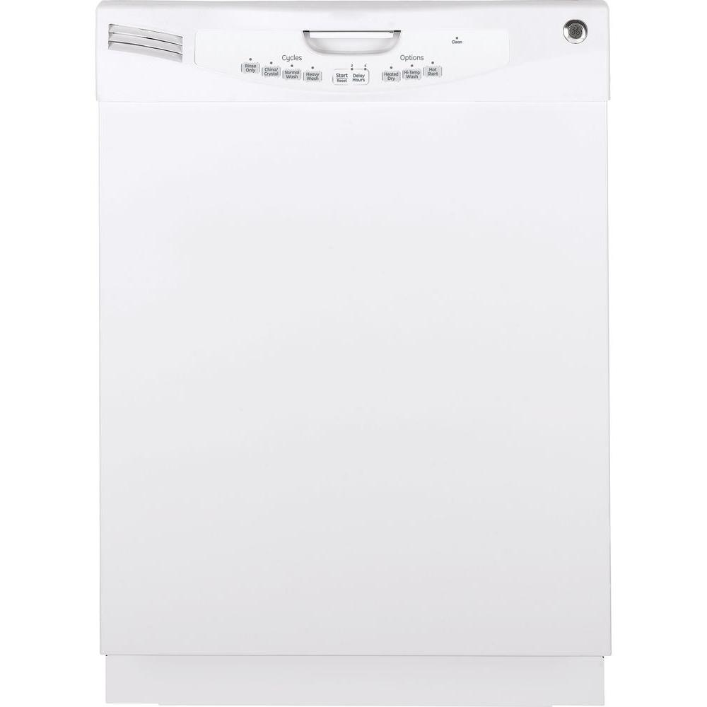 GE Front Control Dishwasher in White GE appliances provide up-to-date technology and exceptional quality to simplify the way you live. With a timeless appearance, this family of appliances is ideal for your family. And, coming from one of the most trusted names in America, you know that this entire selection of appliances is as advanced as it is practical. Color: White.