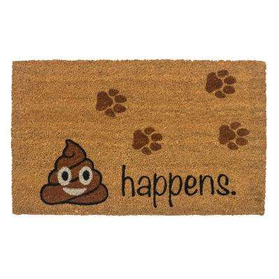 It Happens 28 in. x 17 in. Non-Slip Coir Door Mat