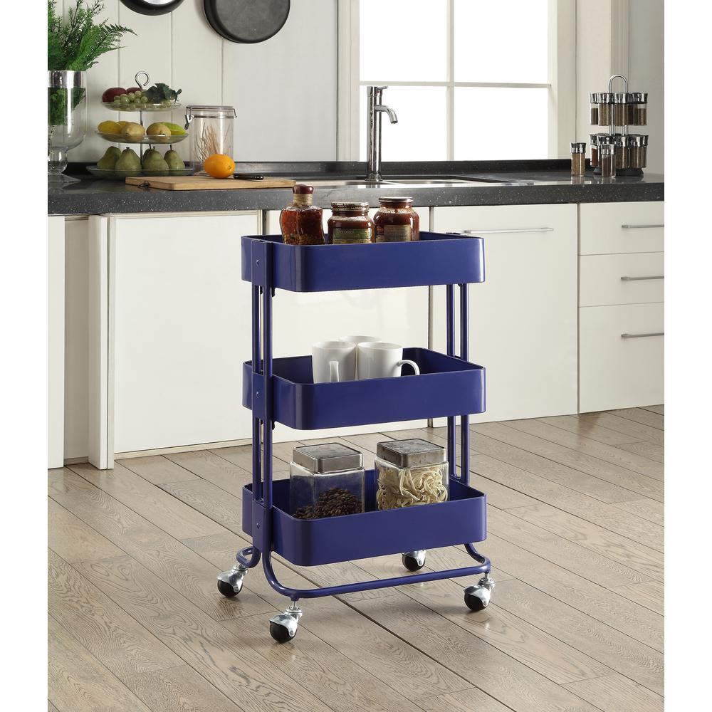 3 tier royal blue kitchen cart
