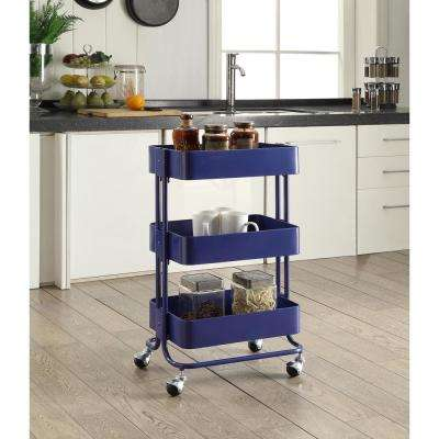 3-Tier Royal Blue Kitchen Cart