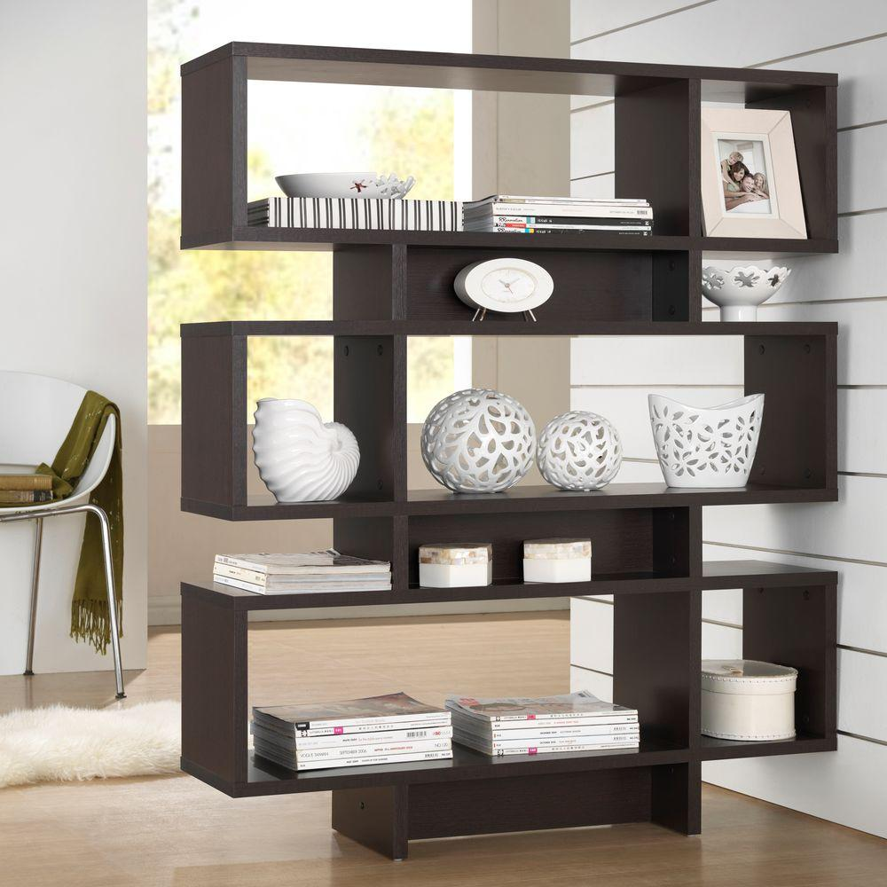 Cassidy Dark Brown Wood 3-Tier Open Shelf