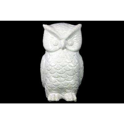 9 in. H Owl Decorative Figurine in White Gloss Finish