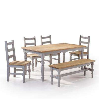 Jay 6 Piece Gray Wash Solid Wood Dining Set With 1 Bench, 4