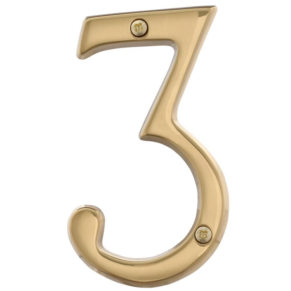 Schlage 4 in. Bright Brass Classic House Number 3