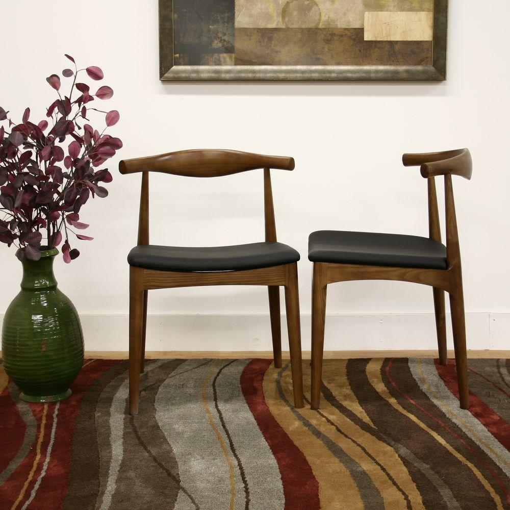 Sonore Black Faux Leather Upholstered and Dark Brown Wood Dining Chairs
