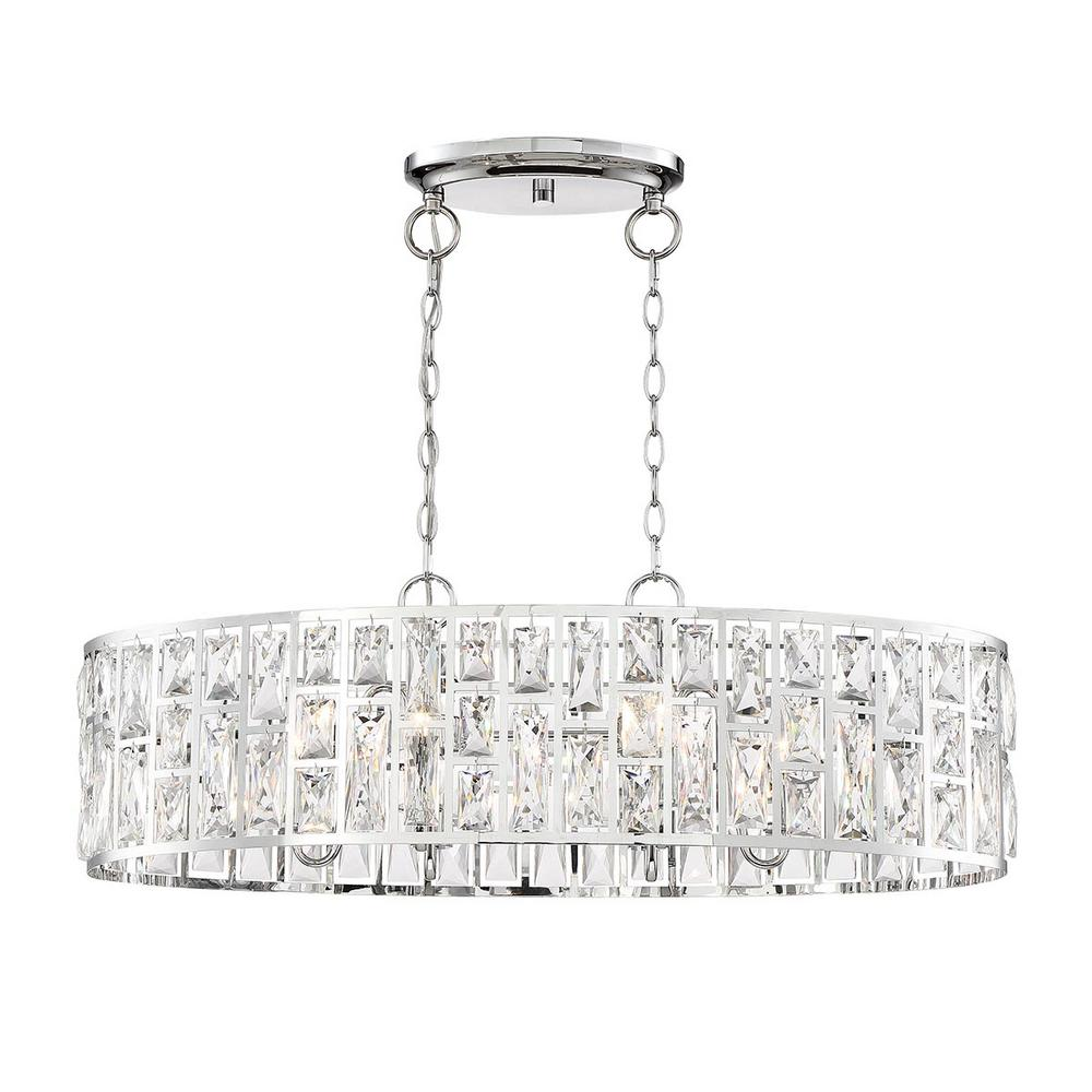 Home Decorators Collection Kristella 6-Light Chrome Linear Pendant with Clear Crystal Shade