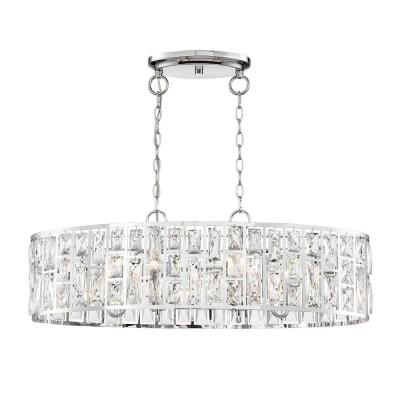 Kristella 6-Light Chrome Linear Pendant with Clear Crystal Shade