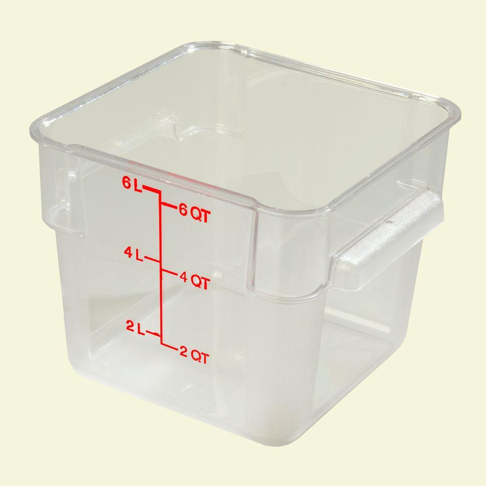 6 qt. Polycarbonate Square Food Storage Container in Clear, Lid not