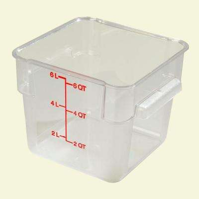 6 qt. Polycarbonate Square Food Storage Container in Clear, Lid not Included (Case of 6)