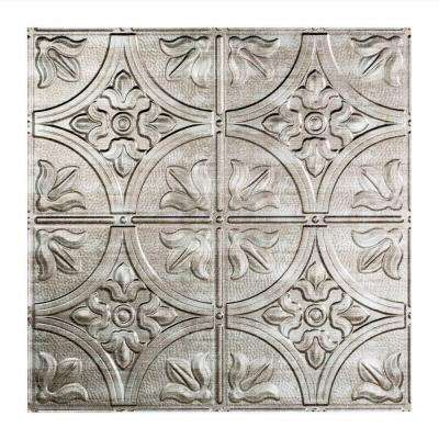 Traditional 2 - 2 ft. x 2 ft. Lay-in Ceiling Tile in Crosshatch Silver
