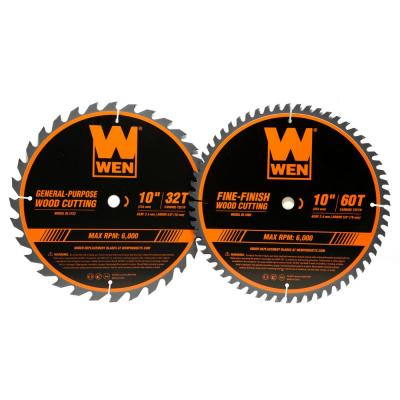 10 in. 32-Tooth and 60-Tooth Carbide-Tipped Professional Woodworking Saw Blade Set (2-Pack)